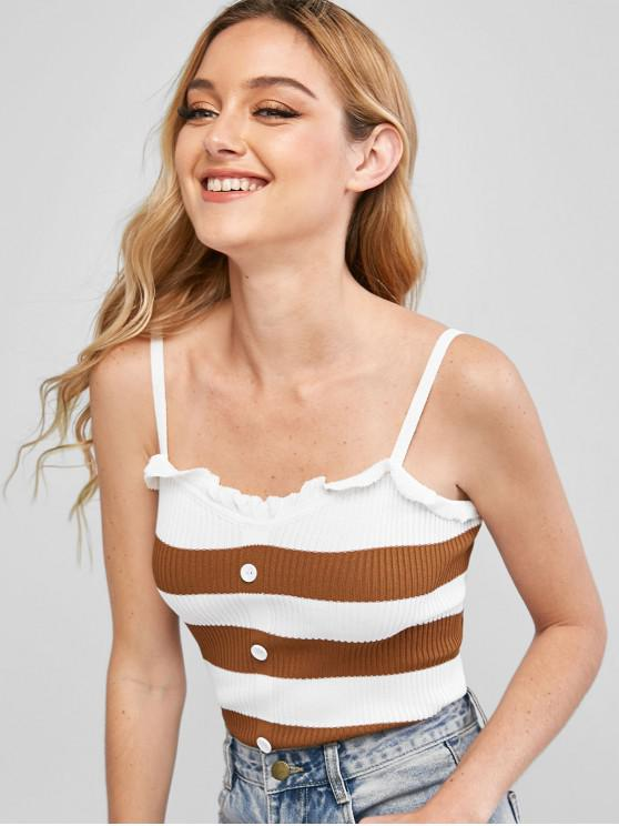 women Knitted Contrast Stripes Cami Top - BROWN ONE SIZE