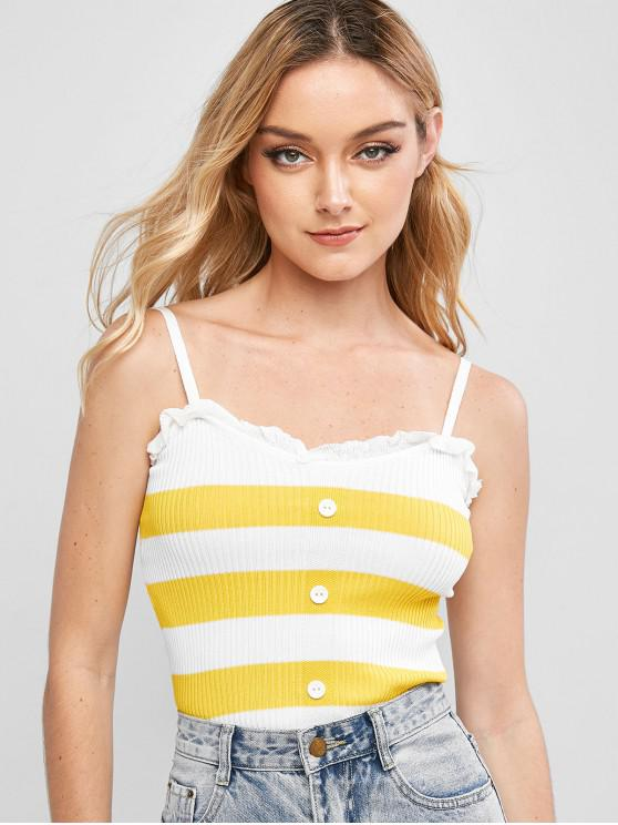 lady Knitted Contrast Stripes Cami Top - YELLOW ONE SIZE