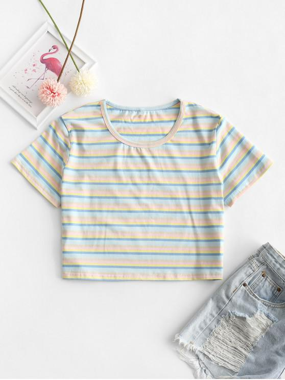 women's Cropped Colorful Striped Tee - MULTI-A L