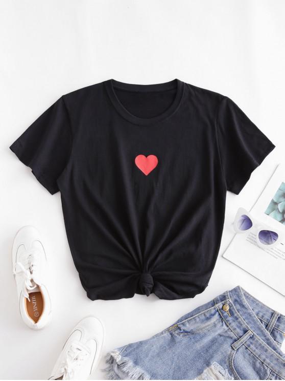 Kurzärmliges T-Shirt mit Herzmuster - Schwarz L