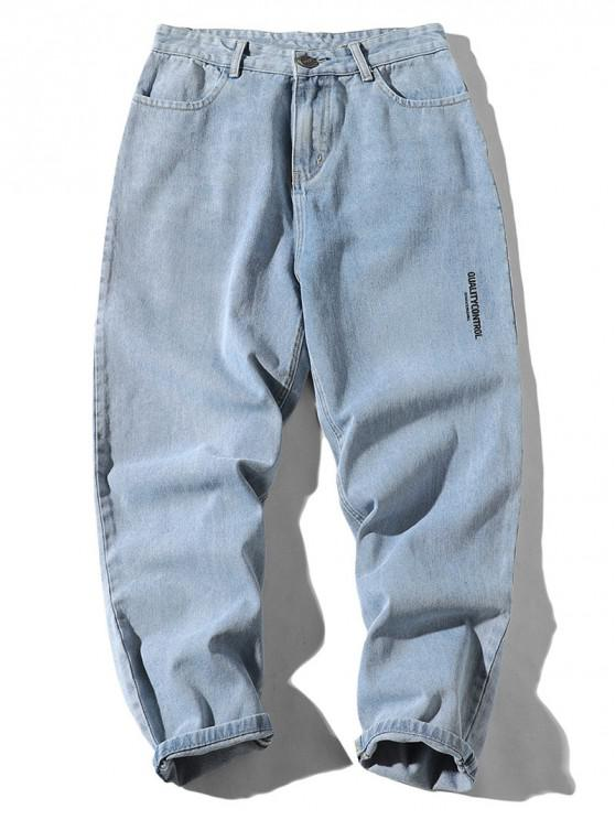 buy Letter Print Wide Leg Denim Pants - SKY BLUE XL