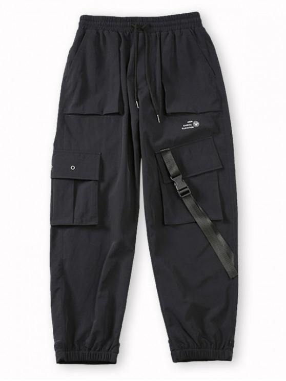 Pantalones de Carga con Estampado de Letras de Bolsillo de Solapa - Negro L