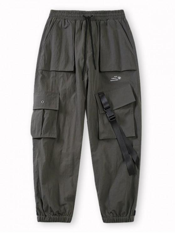 Pantalones de Carga con Estampado de Letras de Bolsillo de Solapa - Gris XL