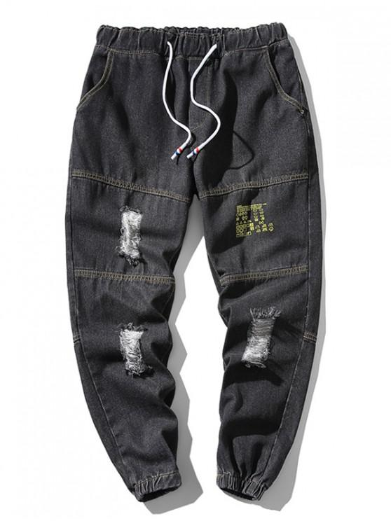 trendy Distressed Ripped Letter Print Jogger Jeans - BLACK XL