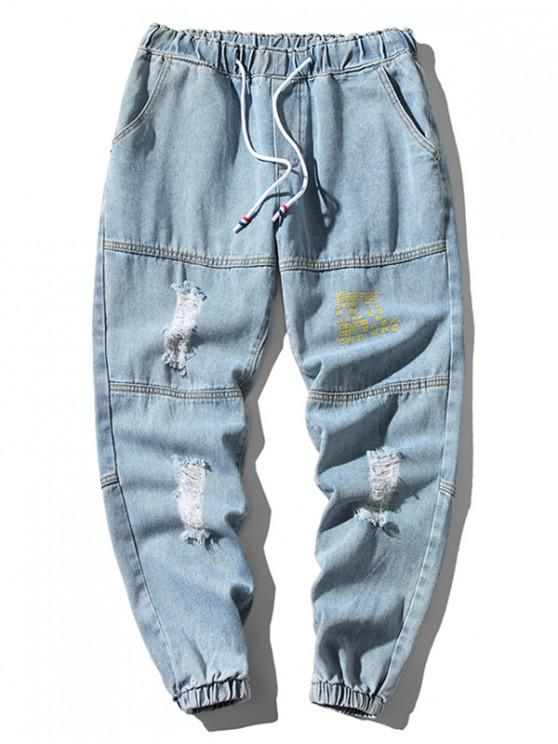 sale Distressed Ripped Letter Print Jogger Jeans - JEANS BLUE XL
