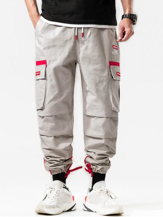 online Leisure Letter Pattern Cargo Pants - GRAY GOOSE 2XL