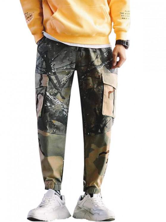 latest Camo Spliced Printed Cargo Pants - ARMY GREEN 2XL