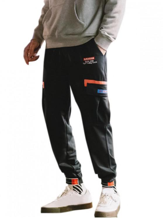 outfit Letter Pattern Elastic Waist Pocket Cargo Pants - DARK GRAY 2XL