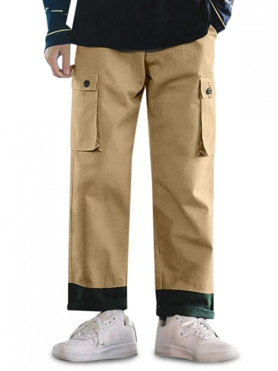 Pantalones Casuales Ajustables Color Empalmado y Cordones - Camel Marrón S