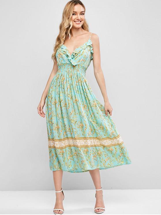 sale Ruffles Smocked Waist Floral Cami Dress - MULTI-A L