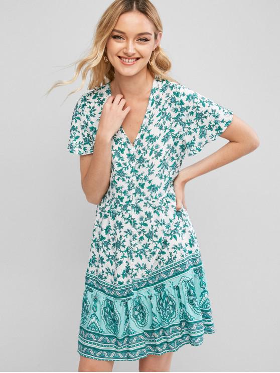 women Button Loop Floral Printed Mini Dress - GREEN S
