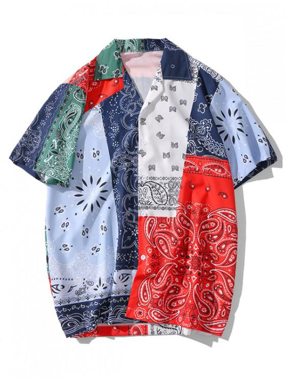 Camisa con Botones y Estampado de Parches - Multicolor-A M
