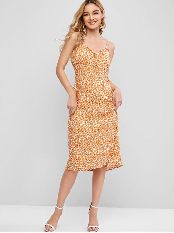 womens Tie Collar Ditsy Floral Cami Dress - ORANGE M
