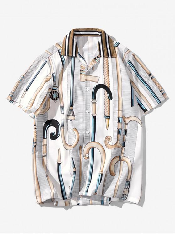 Cane Print Short Sleeves Shirt - متعددة F 2XL
