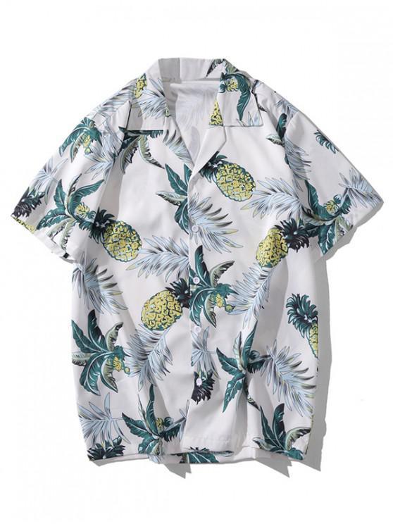 Ananas Leaf Print Shirt Casual - alb 2XL