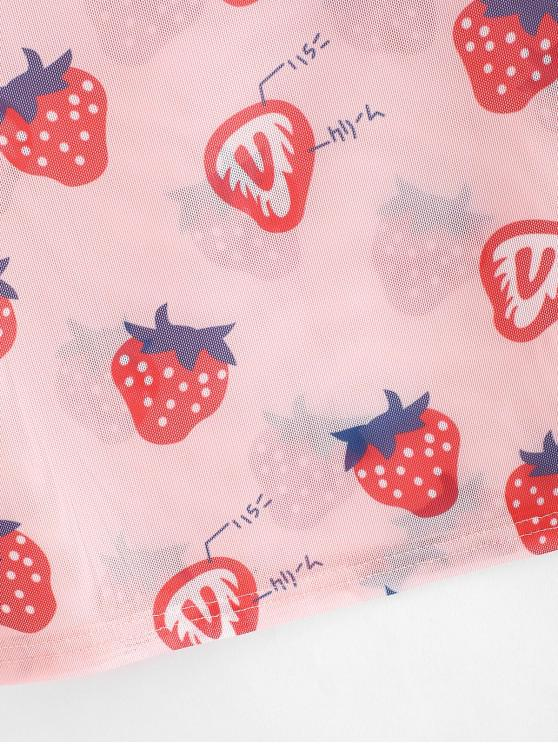 Strawberry Print Sheer Mesh Crop Top - Pink M   ZAFUL
