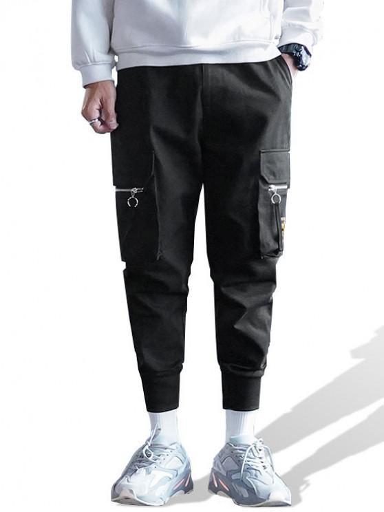 unique Letter Pattern Zip Pocket Jogger Pants - BLACK XL
