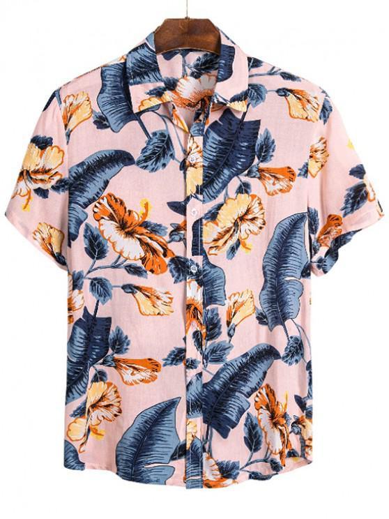 Camisa de Playa de Manga Corta con Estampado Tropical de Hojas - Multicolor M