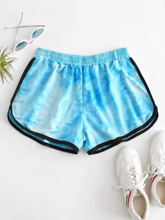 hot High Waisted Tie Dye Dolphin Shorts - BLUE S