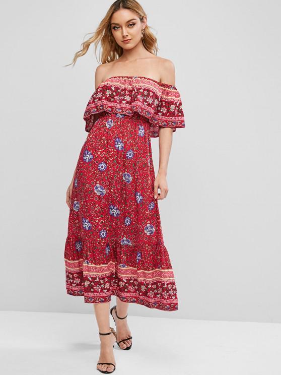ZAFUL Floral Print Off Shoulder Bohemian Overlay Dress - عيد الحب الأحمر L