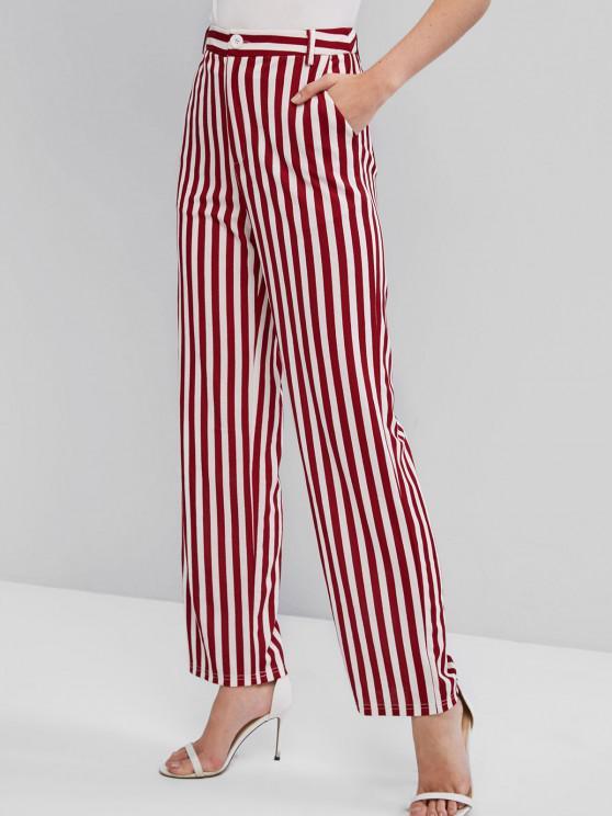 ZAFUL Striped High Waist Wide Leg Pants - متعددة-A XL