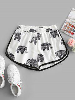 High Waisted Elephant Print Dolphin Shorts - White L