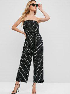 Strapless Polka Dot Wide Leg Jumpsuit - Black