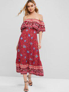 ZAFUL Floral Print Off Shoulder Bohemian Overlay Dress - Valentine Red S