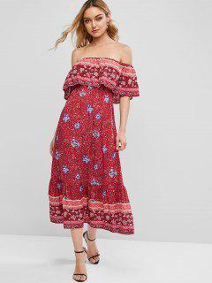 ZAFUL Floral Print Off Shoulder Bohemian Overlay Dress - Valentine Red M