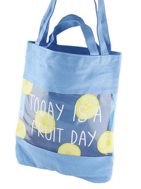 Bolsa de Asas Estampado Fruta Transparente - Azul  Mobile