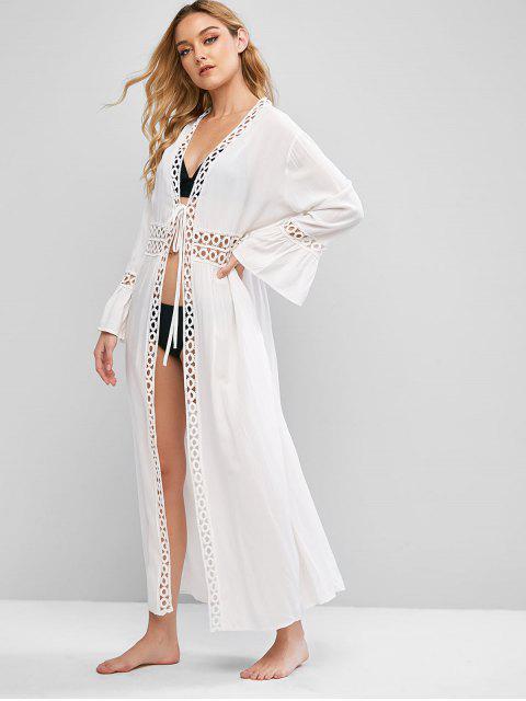 Blusa Encubierta de Playa con Nudo Delantero - Blanco Talla única Mobile