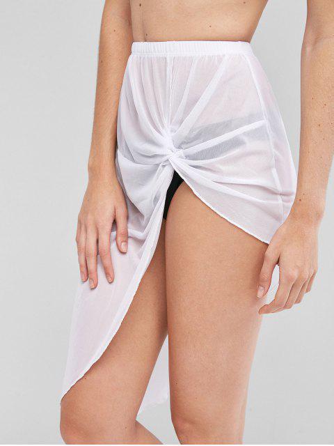 Falda Asimétrica con Malla - Blanco M Mobile