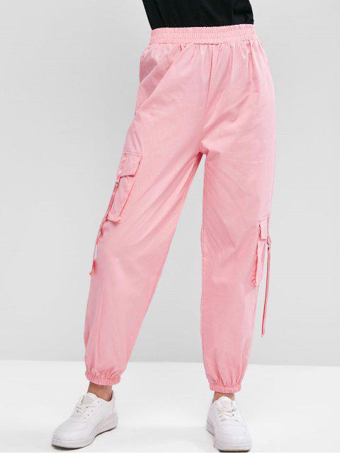 フラップはバックルストラップカーゴジョガーパンツポケット - ピンク S Mobile