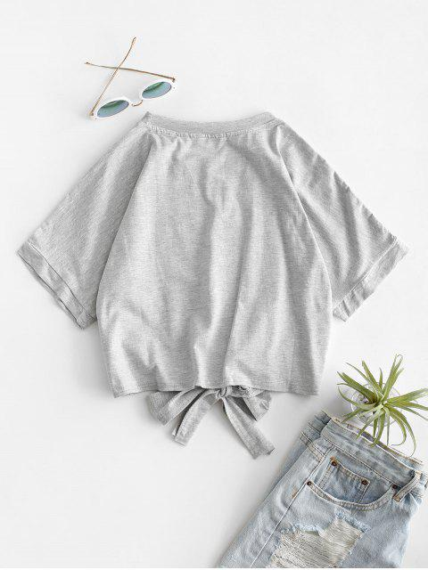new Elephant Graphic Tie Hem Cropped Tee - LIGHT GRAY S Mobile