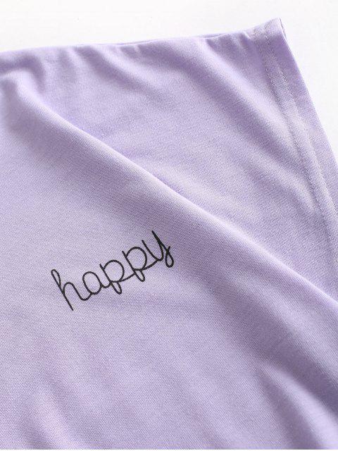 ハッピーグラフィックベーシックTシャツ - 紫の M Mobile