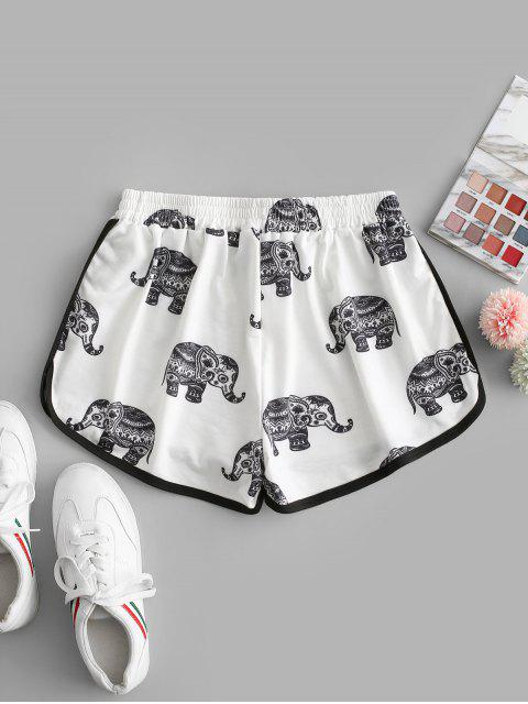 new High Waisted Elephant Print Dolphin Shorts - WHITE M Mobile