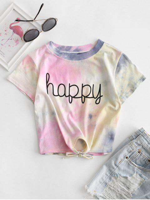T-shirtTeintéGraphiqueenAvant à Ourlet Noué - Multi-A M Mobile