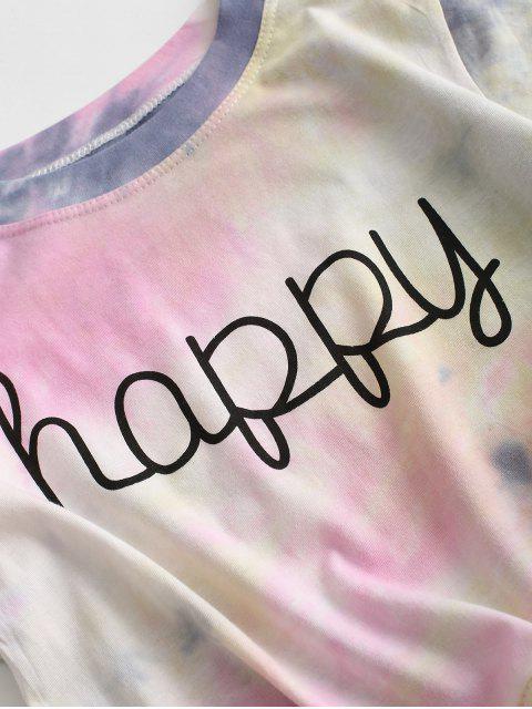 T-shirtTeintéGraphiqueenAvant à Ourlet Noué - Multi-A L Mobile