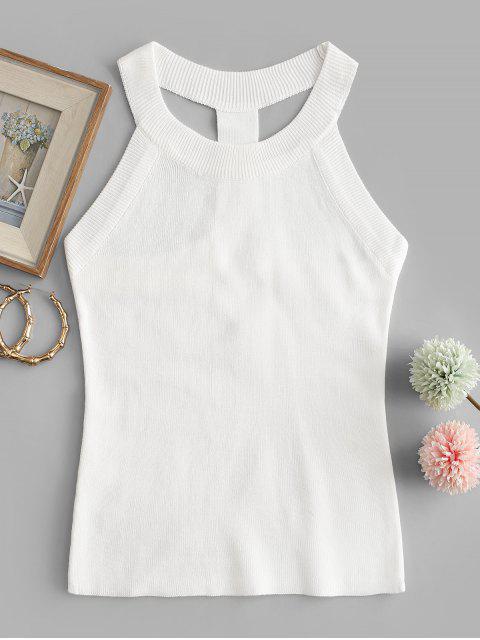 Regata Tricotada com Gola Redonda e Fecho de Correr - Branco Um Tamanho Mobile