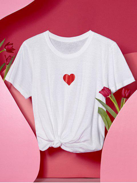 T-shirt Cœur Imprimé à Manches Courtes - Blanc L Mobile