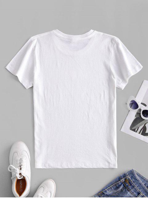 Kurzärmliges T-Shirt mit Herzmuster - Weiß L Mobile