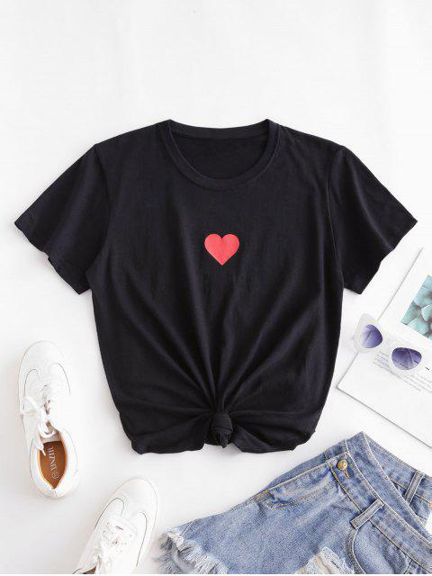 Kurzärmliges T-Shirt mit Herzmuster - Schwarz XL Mobile