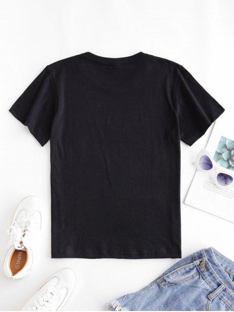 Kurzärmliges T-Shirt mit Herzmuster - Schwarz 2XL Mobile