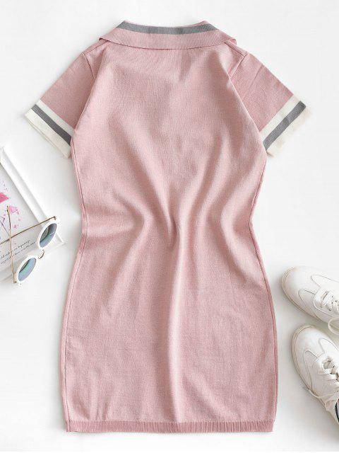 latest Knitted Stripes Panel Bodycon Dress - PINK M Mobile