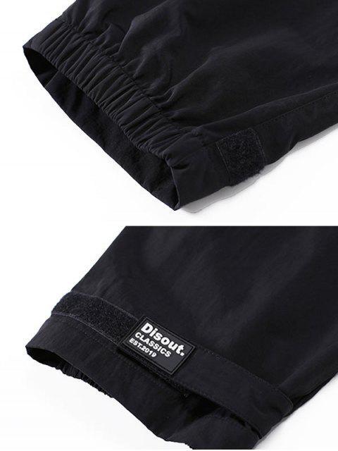 Pantalones de Carga con Estampado de Letras de Bolsillo de Solapa - Negro S Mobile