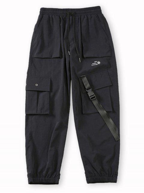 Pantalones de Carga con Estampado de Letras de Bolsillo de Solapa - Negro M Mobile