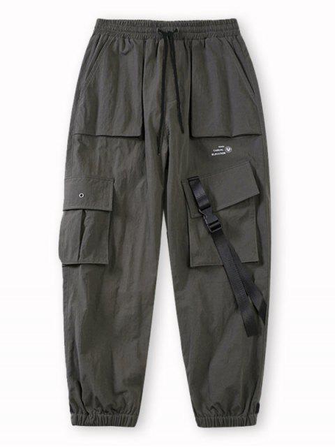 Pantalones de Carga con Estampado de Letras de Bolsillo de Solapa - Gris S Mobile