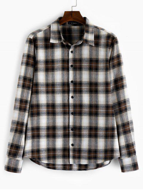 buy ZAFUL Plaid Long Sleeve Button Shirt - MULTI 2XL Mobile