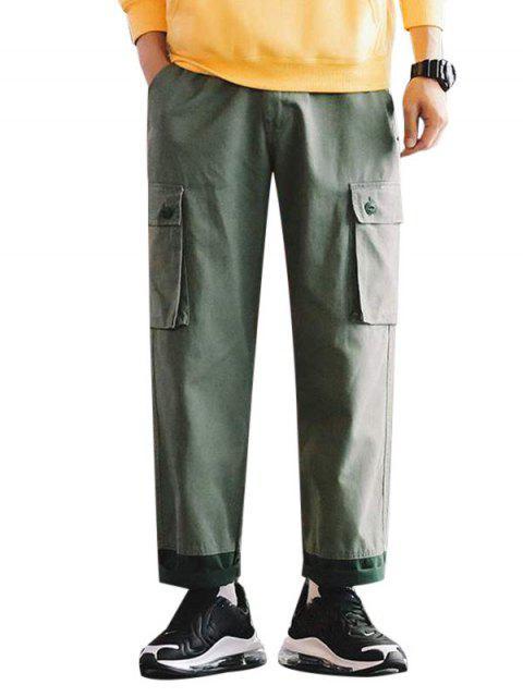 Pantalones Casuales Ajustables Color Empalmado y Cordones - Verde claro S Mobile