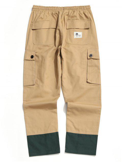 Pantalones Casuales Ajustables Color Empalmado y Cordones - Camel Marrón XS Mobile
